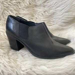 Pazzo 80s Black Leather Pointed Toe Ankle Boots